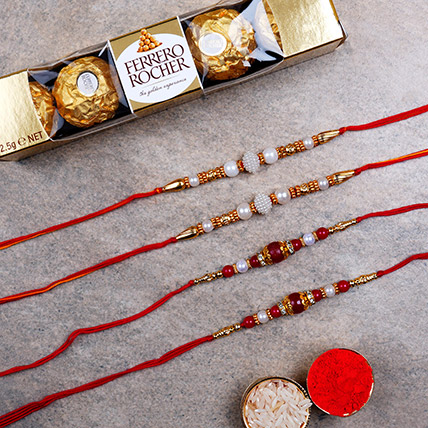 Four Pearl Thread Rakhis And Rochers 5 Pcs: Set of 4 Rakhi