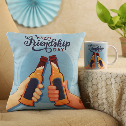 Cheers Friendship Day Cushion & Mug: Friendship Day Gift Ideas