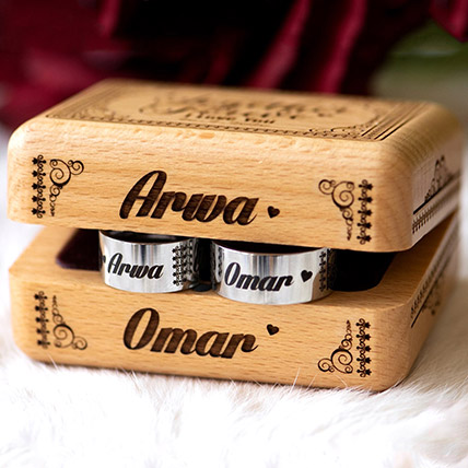 Personalised Engraved Box With Rings: Engraved Personalised Gifts