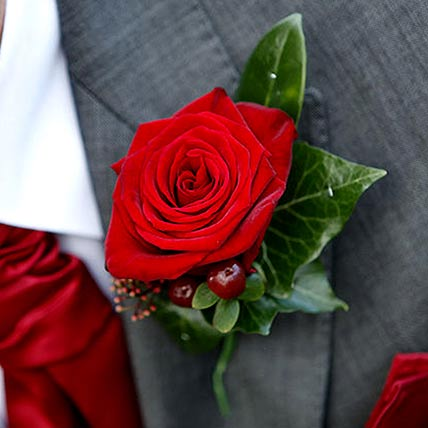 Stunning Red Rose boutonniere: Flower Jewellery