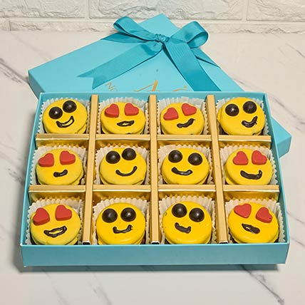 Assorted Box Of Emoji Inspired Yellow Chocolate Dipped Oreos: Best Chocolate in Dubai