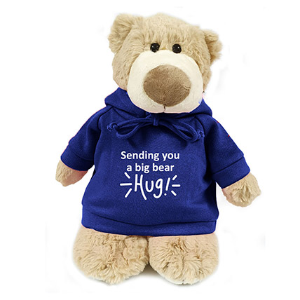 Super Soft Mascot Bear With Blue Hoodie: Singles Day Gifts