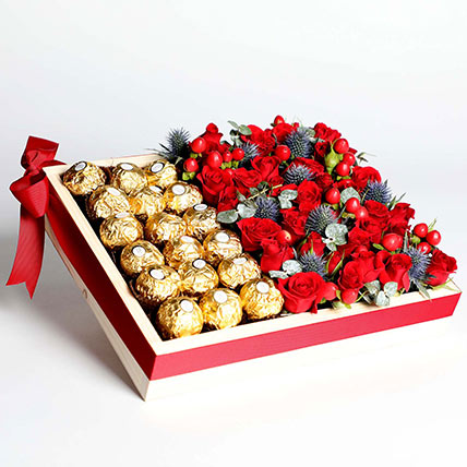 Exotic Roses and Chocolates Arrangement: Bouquet of Roses