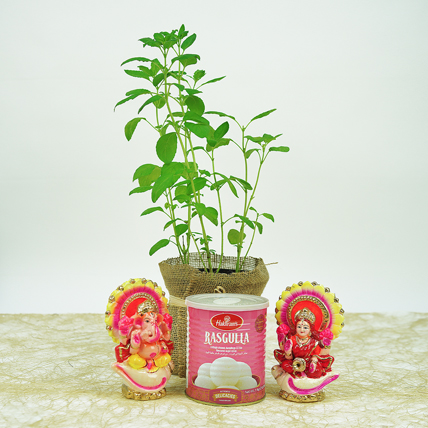 Diwali Gifts In Jute Wrapped Bag and Tulsi: Diwali Sweets