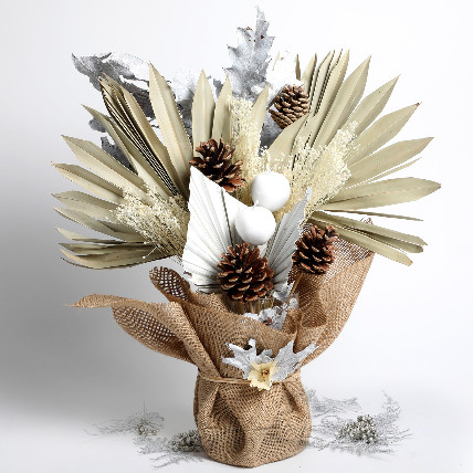 Dried Sunlight Palm and Pinecones Bouquet: