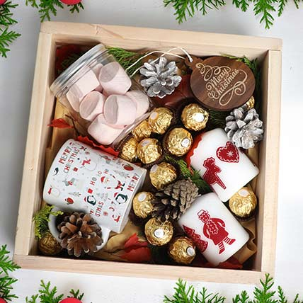 Christmas Wishes in Wooden Tray: Christmas Gifts