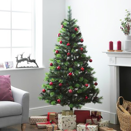 Artificial Xmas Tree with Red Ornaments 180cm: Christmas Tree