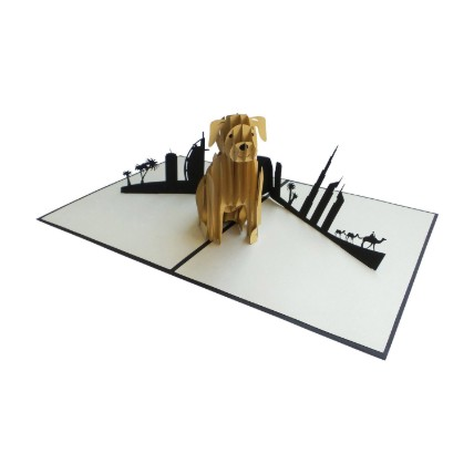 Dog And Skyline Card: 3d Greeting Cards