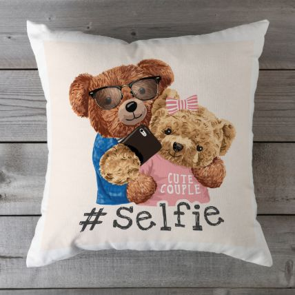Couple Selfie Cushion: Teddy Day Gifts