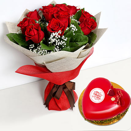 12 Red Roses Bouquet with Heartshape Cake: Valentines Day Flowers and Cakes