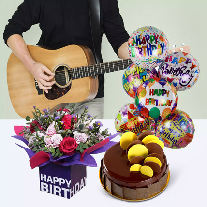 Melodious Birthday Surprise: Flowers and Guitarist Service