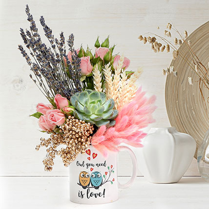 Lovely Floral Arrangement In Owl You Need Is Love Mug: Order Flowers
