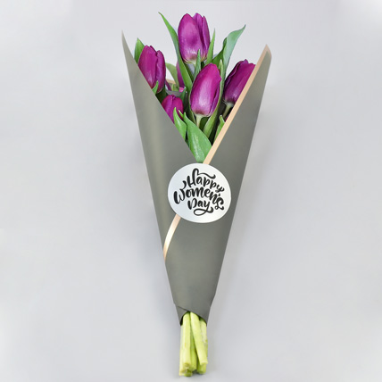 Purple Tulips Bunch for Womens Day: Women's Day Gifts