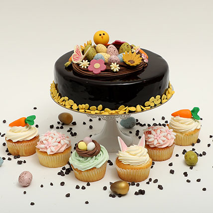 Easter Chocolate Truffle Cake And Cup Cakes Duo: Easter Cakes