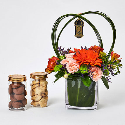 Ramadan Flowers Arrangement N Cookies: Eid Mubarak Flowers
