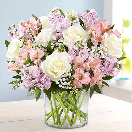 Pink and White Floral Bunch In Glass Vase: Wedding Anniversary Flowers