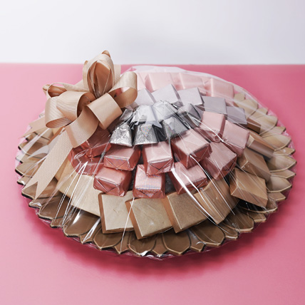 Pink and Golden Chocolate Tray: Dubai Chocolates
