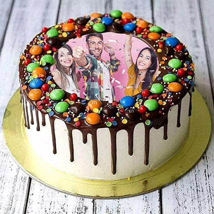 MNM Chocolate Birthday Photo Cake: