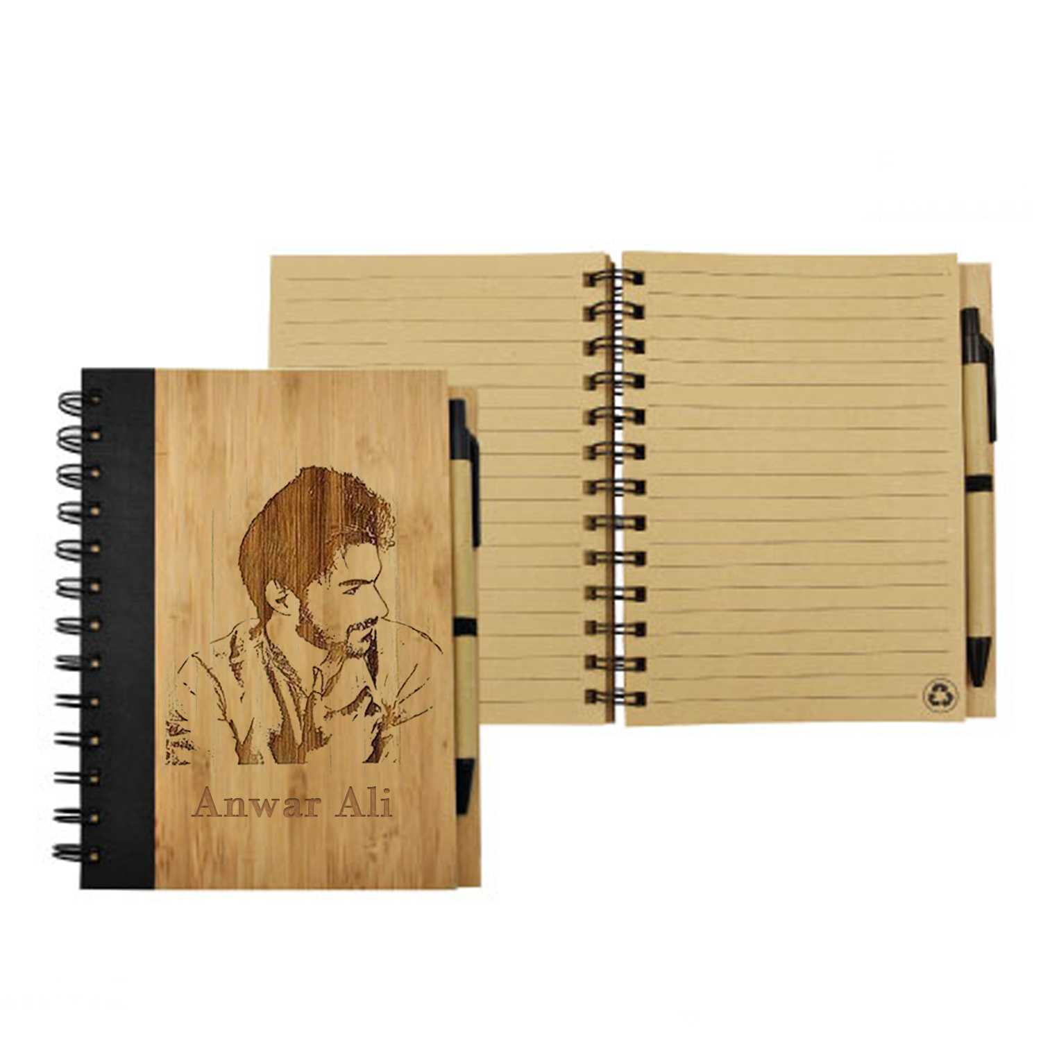 Photo Engraved Bamboo Notebook With Pen: Personalised Gifts