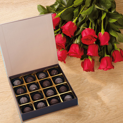 Chocolates and Hand Tied Red Rose Bouquet: Flowers and Chocolate Delivery