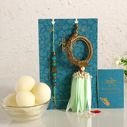 Feather Designer Lumba Rakhi Set & Gulab Jamun:  Rakhi Delivery