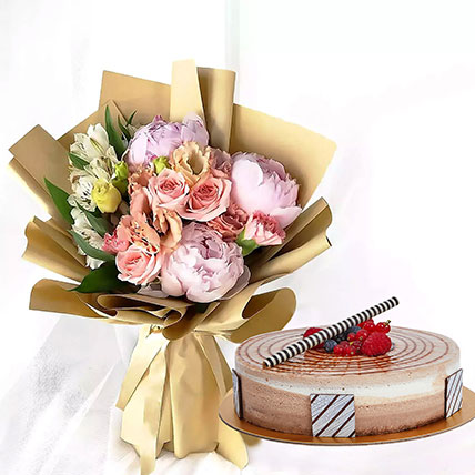 1 kg Triple Chocolate Cake With Peonies Bouquet: Cake and Flower Delivery in Dubai
