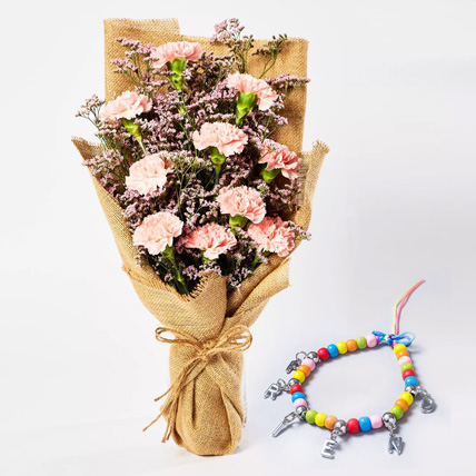 Pink Carnations Bouquet with Friendship Band: Friendship Day Gift Ideas