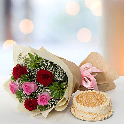 Delightful Roses Bouquet With Butterscotch Cake LB: Gifts to Beirut