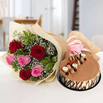 Gorgeous Roses Bouquet With Triple Chocolate Cake OM: Send Cakes to Oman
