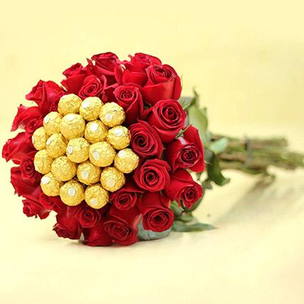 Ferrero Rocher And Rose Arrangement: Send Gifts To Pakistan