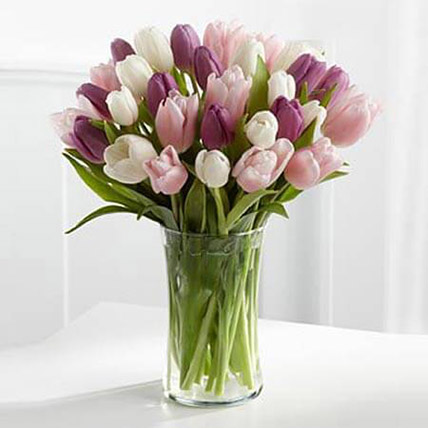 Painted Skies Tulip Bouquet QT: Flower Delivery Qatar