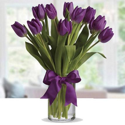 Purple Tulip Arrangement QT: Valentines Day Gifts to Qatar