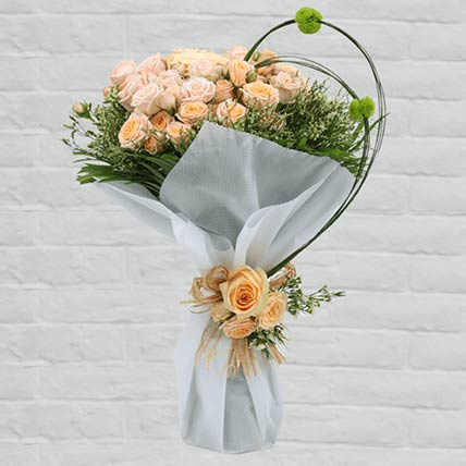 Stems Loving Peach Roses Bouquet: Flowers to Doha