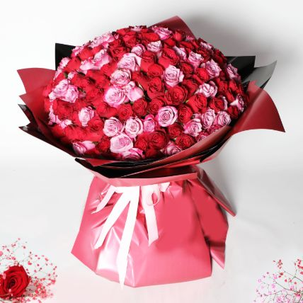 200 Red and Pink Roses Bouquet: Valentines Day Gifts to Qatar