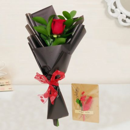 Red Rose Bouquet & Handmade Greeting Card: Fathers Day Gifts to Qatar