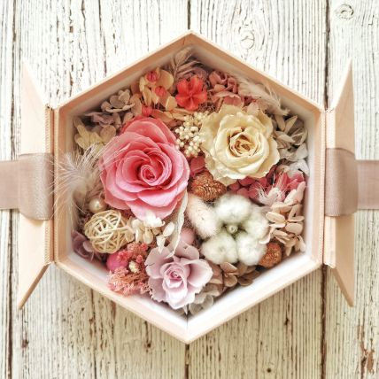 Eternal Flowers In Hexagon Shape Gift Box: Gift Delivery in Qatar