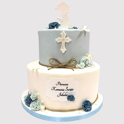 Blue And White Christening Cake: Gifts To Al Qatif