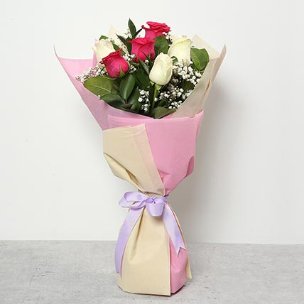 3 Pink And 3 White Roses Bouquet: Flowers To Taif