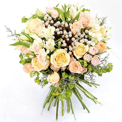 Beautiful Roses and Alstroemeria Hand Tied Bunch SG: Flower Delivery Singapore