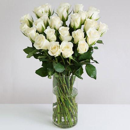 White Roses In Hurricane Vase: Flower Delivery UK
