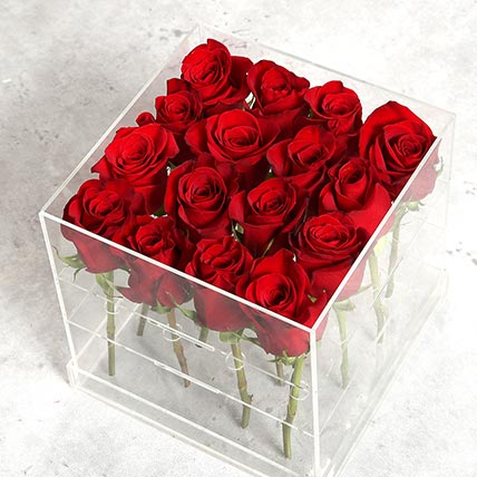 Red Rose Arrangement in Acrylic Base