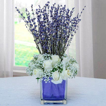 Lavender Bouquet with White Roses